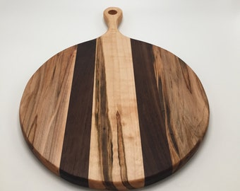 Handmade ambrosia maple and walnut round cutting board with handle, cheeseboard, serving board, charcuterie board