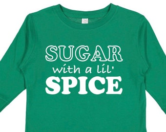 Sugar with a lil Spice | Christmas Shirt for Toddlers | Twins