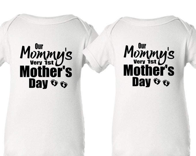Twin Mommy's 1st Mother's Day | Mom of Twins | Baby Twin bodysuits for Mama | First Mother's Day for Twin Mom