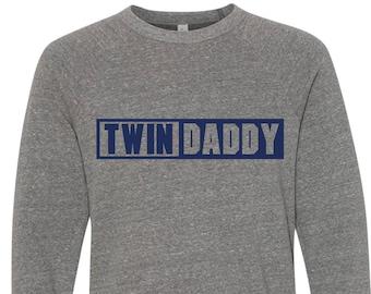 Twin Daddy Sweatshirt | Twin Dad Grey Triblend Sweatshirt | Twim Dad's Comfy Soft Long Sleeve