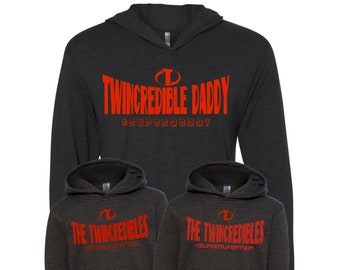 3 Pack of Twincredible Daddy and Twincredible Twins Hoodies | Dad of Twins | Father's Day Gift for Twin Dad