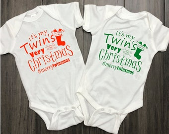 Twins Very 1st Christmas Bodysuits | First X-Mas outfits for twin brothers sisters