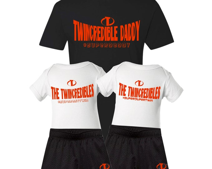 5 piece bundle- Twincredible Daddy, The Twincredibles Bodysuits and a set of matching shorts |Dad of Twins | Twin Father's Day for Twin Dad
