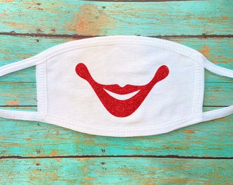 Face Masks Smile Red Glitter | reusable, washable | cotton masks for adults | anti dust masks