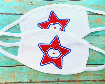 4th of July Star Lips Kiss Face Masks | reusable, washable | cotton masks for adults | anti dust white masks electric blue and red glitter