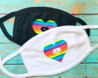 Pride Heart Lips Kiss Face Masks | reusable, washable | cotton masks for adults | anti dust masks rainbow pattern