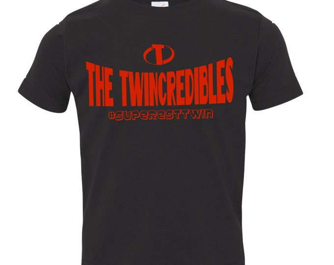 ADD-ON for The Twincredibles Twin Boys Twin Girls Toddler Super Hero Outfits | Funny Twin Shirt | Twins bodysuits matching