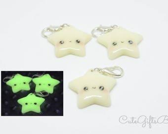 Polymer clay jewelry//Kawaii star charm-night glow//pendant//fimo jewelry//bracelet-Necklace-Keychain//Glow in the Dark