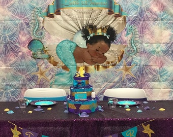 Mermaid Baby Shower Decorations Etsy