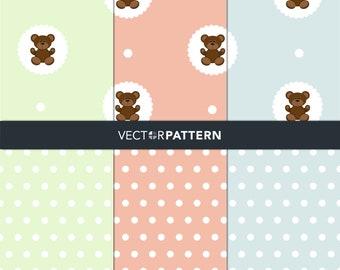 Cute Bears. Digital Paper Scrapbook Backgrounds Cute animals seamless vector patterns.