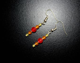 Red, orange and yellow earrings
