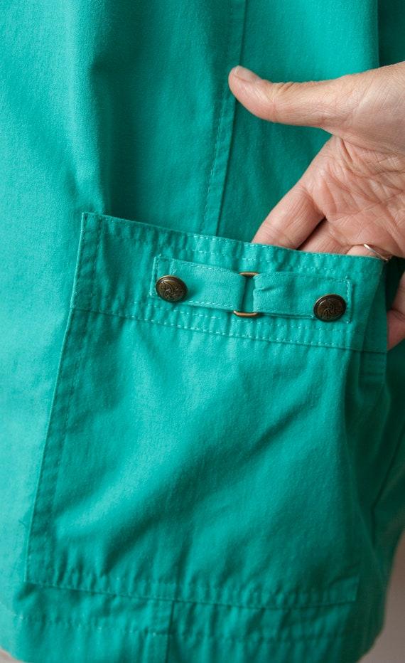 80s Turquoise Blazer, Aqua Oversized Blazer - image 5