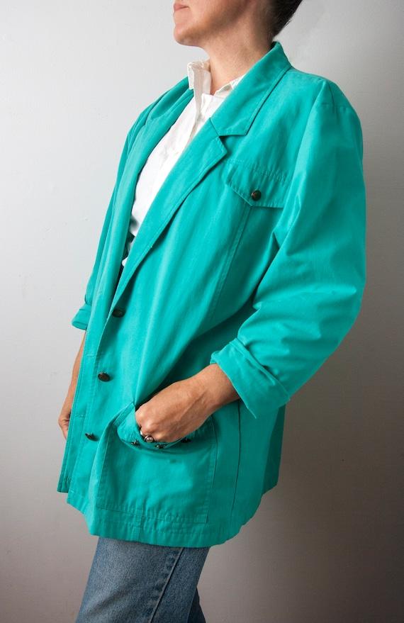 80s Turquoise Blazer, Aqua Oversized Blazer - image 7