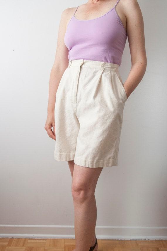 Off White Bermuda, High Waisted Linen Blend Shorts