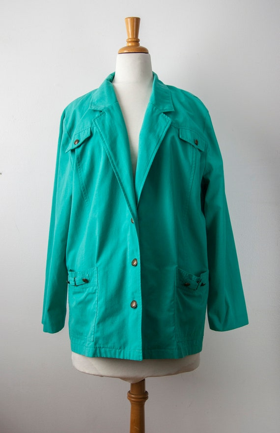 80s Turquoise Blazer, Aqua Oversized Blazer - image 2