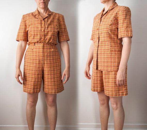 90s Plaid Two Piece Set , Linen Blend Orange Short