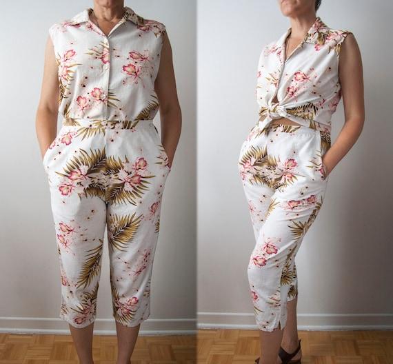 Capri Pants Two Piece Set , Linen Blend Tropical … - image 1