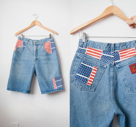 American Flag Patched Shorts, Vintage Patriotic De
