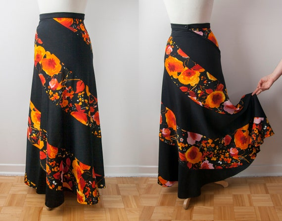 Black and Orange Floral Skirt, Hippie Floral Maxi