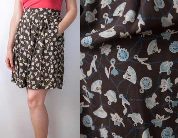 High Waisted Pleated Shorts, Novelty Print Shorts