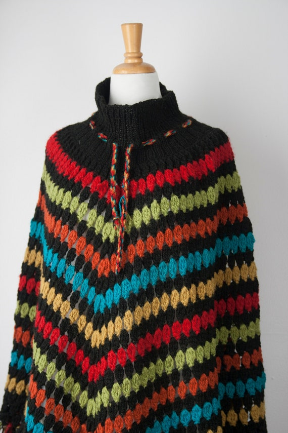 70s Poncho, Vintage Multi Color Knit Poncho, Boho