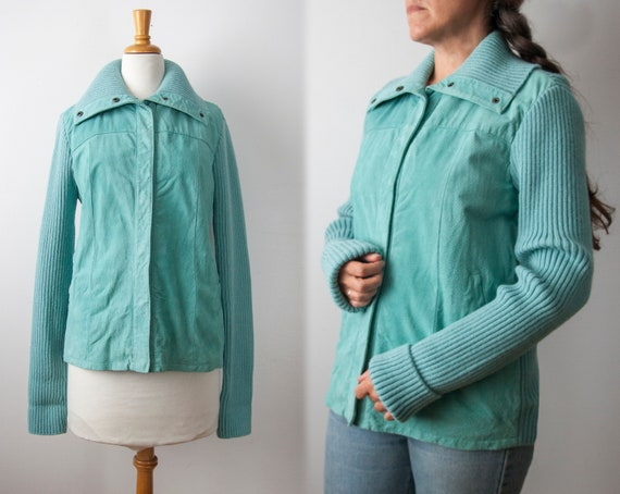 Turquoise Suede & Knit Sweater Jacket, Size M-L