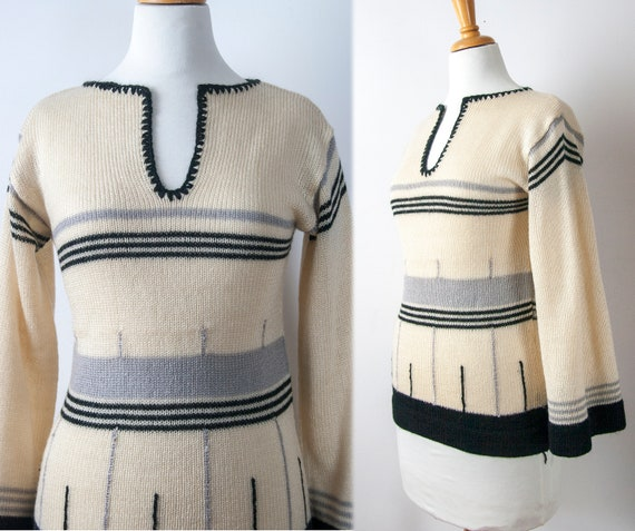 70s Stripped Sweater with Bell Sleeves, Size M
