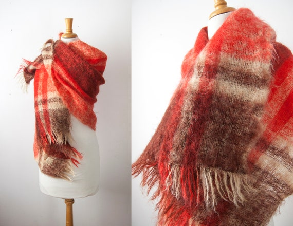 Mohair Plaid Blanket Scarf, Tartan Wool Scarf