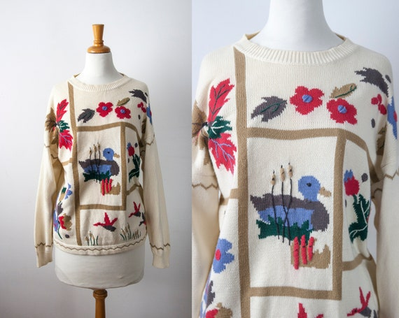 Duck Cotton Knit Sweater, 90s Novelty Sweater