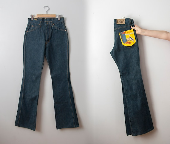 High Waisted Flared Jeans, 70s Dead Stock Lee Ride