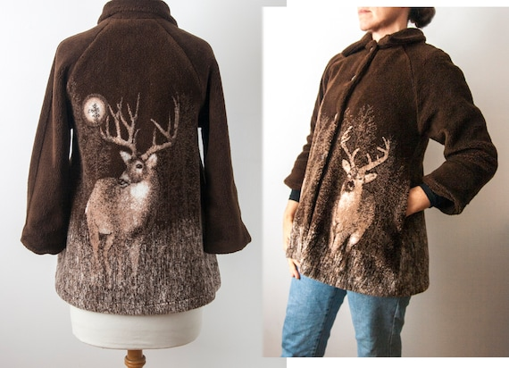 Deer Fleece Coat, Novelty Faux Fur Jacket