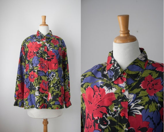 Vintage Floral Silk Blouse  | Black and Red Vintag