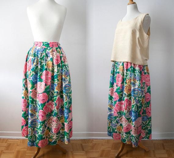Maxi Floral Skirt, Linen Blend Pleated Skirt