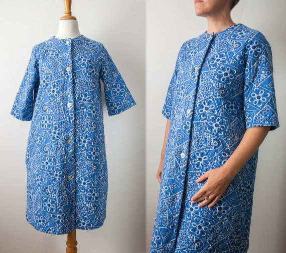 60s Blue House Robe, Bandana Quilted House Dress