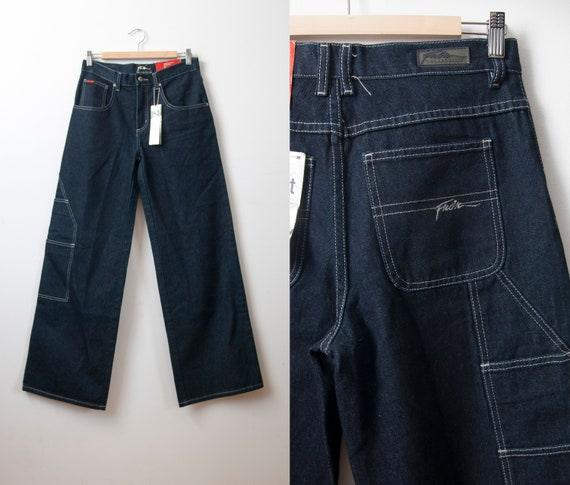 High Waisted Wide Leg FUBU Jeans, Y2K Dark Wash Ba