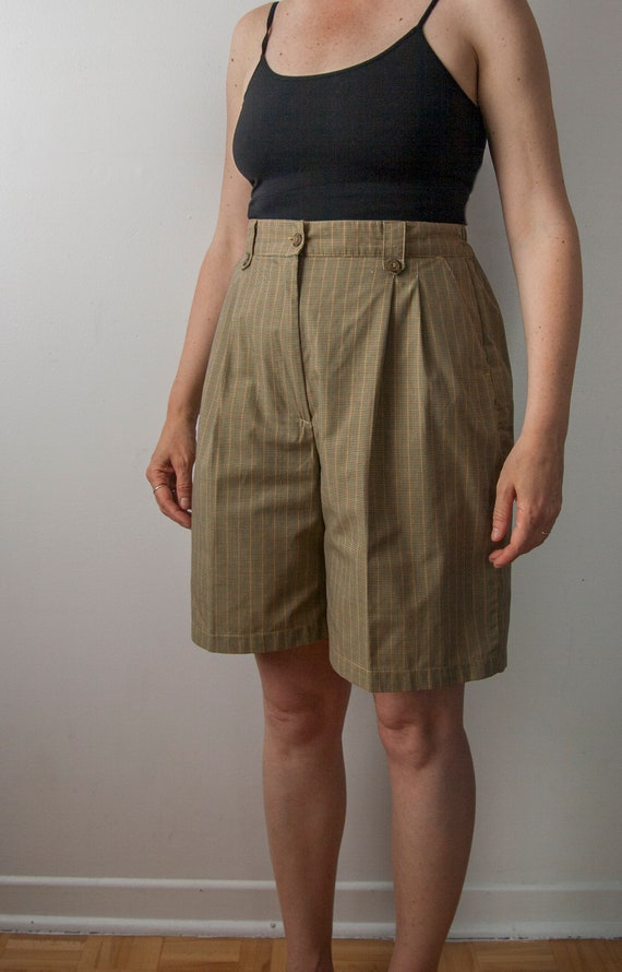 High Waisted Pleated Shorts, 90s Plaid Shorts