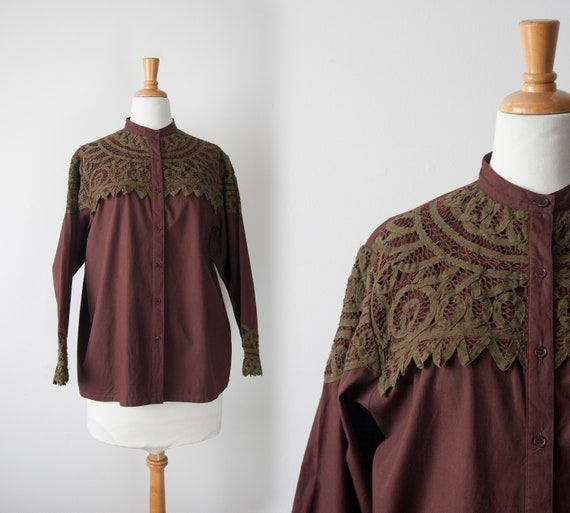 High Collar Burgundy Blouse with Lace Inserts, Vic