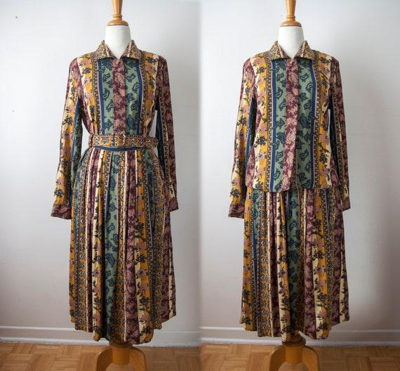 90s Floral Skirt set,Pleated Skirt Long Sleeve Blo