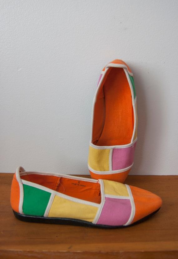 Vintage Color Bloc Shoes, Slip on Canvas Shoes Siz
