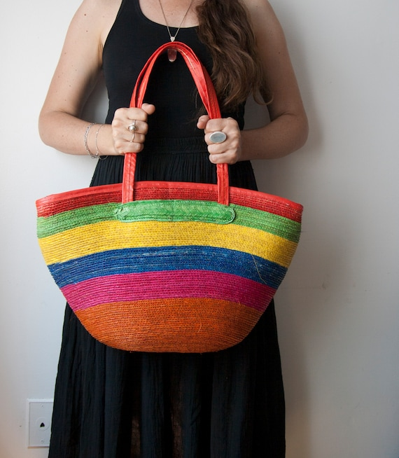 Rainbow Straw Bag, Multicolor Basket Shoulder Bag,