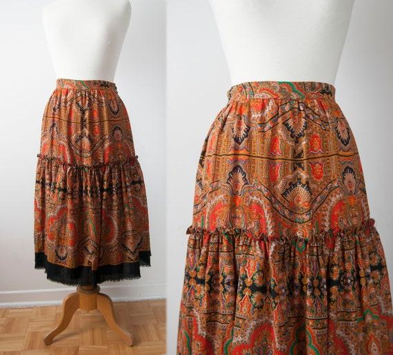 Boho Tiered Skirt, Paisley Ruffled Skirt, Waist 29