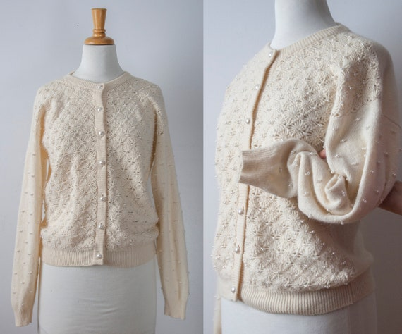 Lambswool Beaded Cardigan, Embellished Cream Wool
