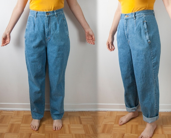 90s High Waisted Baggy Jeans, High Rise Tapered Le