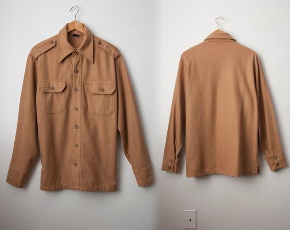 Vintage Beige Wool Shirt / Vintage Light Jacket