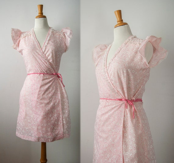 Pink Floral Nightgown, Wrap Dress with Lace Cap Sl