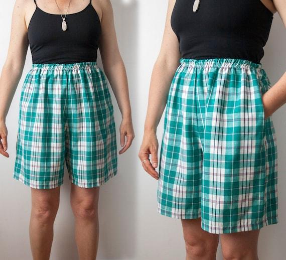 High Waisted Plaid Shorts, Elastic Waist 90s Short