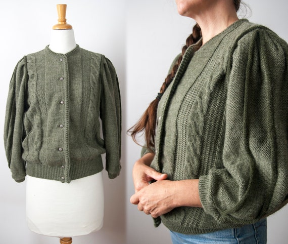 Olive Green Cable Knit Puff Sleeve Wool Cardigan