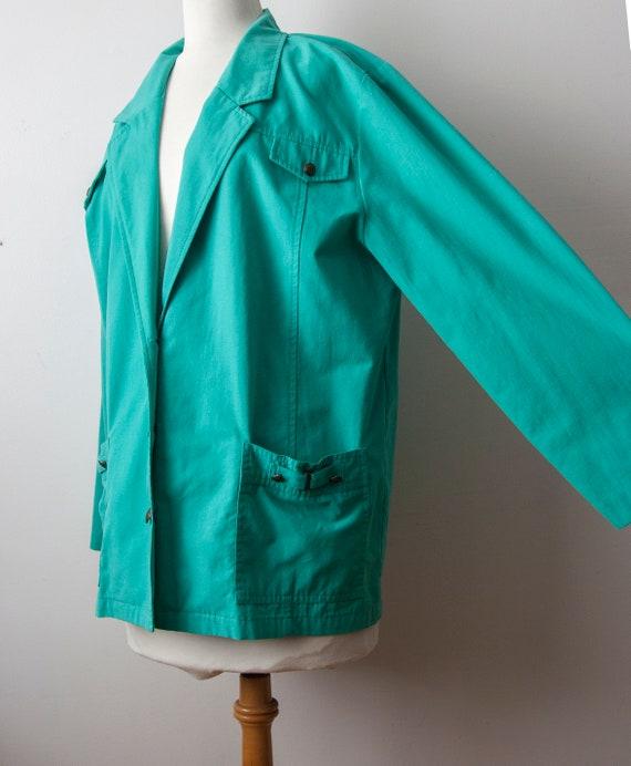 80s Turquoise Blazer, Aqua Oversized Blazer - image 3
