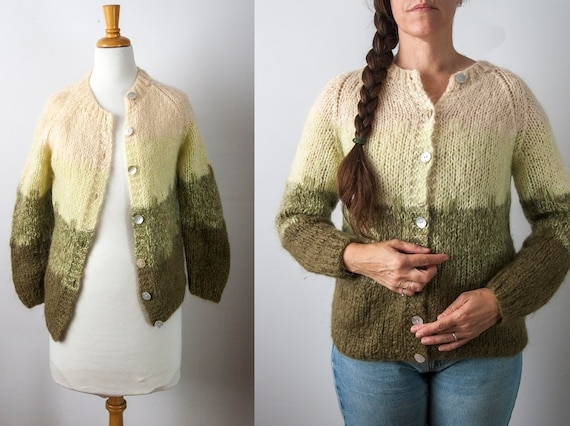 Green Ombre Knit Cardigan, Green Gradient Cardigan