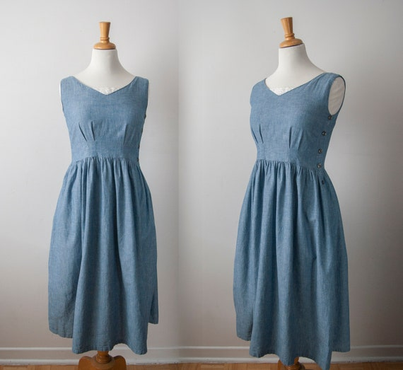 Vintage Prairie Dress, Sleeveless Peasant Summer D